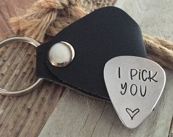 Guitar Pick Keychain, Guitar Pick Gifts, I Pick You, Gifts for Husband, Gifts for the Groom, Musician Keychain, Musician Gifts