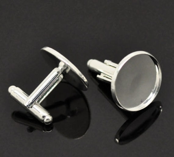 HA Fit 20mm 10 Silver Plated Cabochon Setting Cuff Links 26x22mm