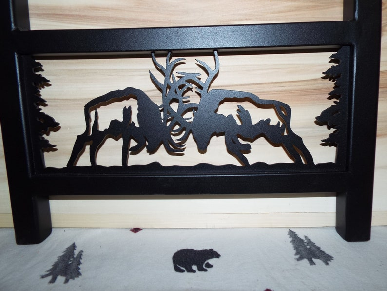 Fighting Bull Elk Powder Coated Black Awesome Laser cut steel industrial table legs for tall end table
