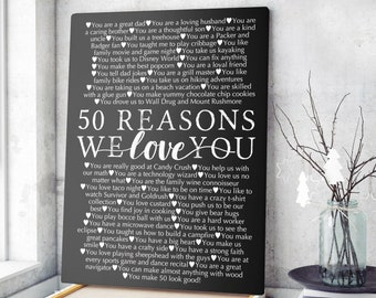 Personalized 50th Birthday Gift For Women Husband Custom Reasons Why I Love You