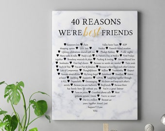 40th Birthday Gift Best Friend Gift, Reasons you are my Best Friend, 40 Reasons Friendship print, Best Friend gifts, Custom Print Canvas
