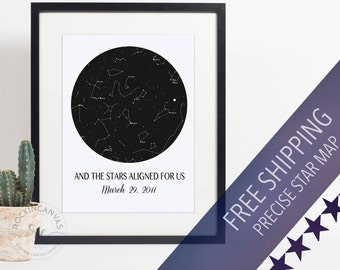 Personalized Constellation Art, Custom Sky Map, Sky Map Art, Star Map  Canvas,