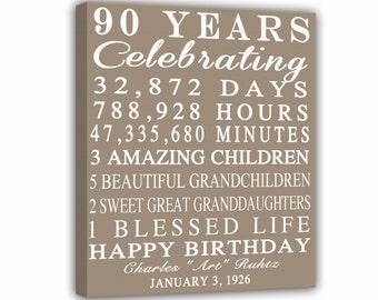 90th BIRTHDAY GIFT 90 Years Sign Anniversary Print Personalized Art Canvas Mom Dad Grandma Birthday Best Friend RockinCanvas