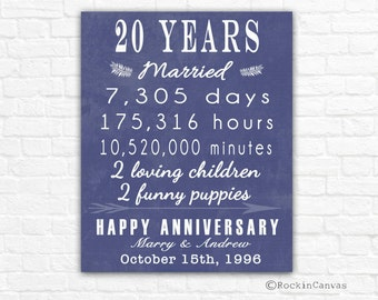 20th anniversary gift sign print personalized art canvas 20 years together mom dad grandma birthday custom years anniversary