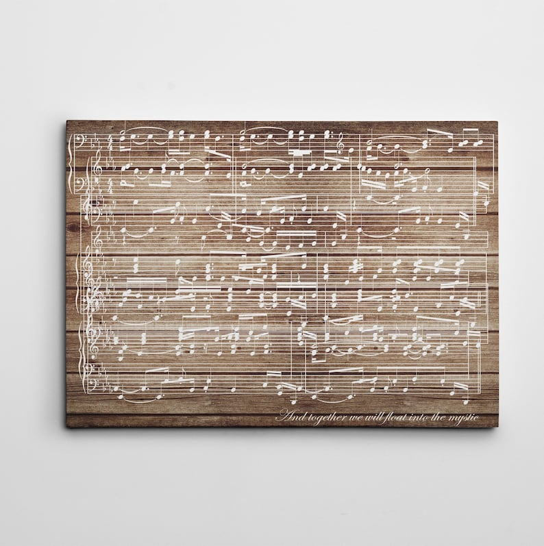 5th Anniversary Gift for Her  Music Sheets Art Custom Song image 0