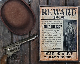 1245c2946 Vintage wooden sign 'WANTED ~ Billy the Kid' reproduction