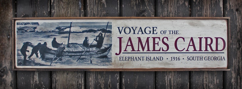 Vintage wooden sign 'Voyage of the James Caird' Museum image 0