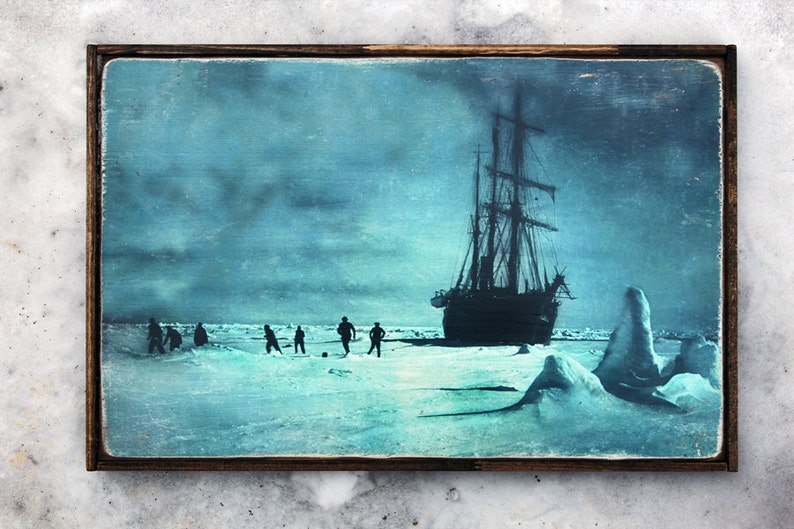 Vintage wooden sign 'The Ice Floe'. Commemorating image 0