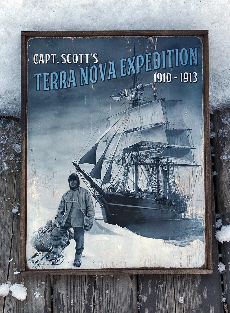 Vintage wooden sign ' Terra Nova Expedition ' original image 0