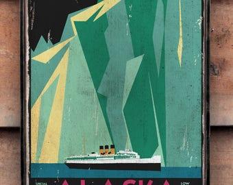 Vintage wooden sign 'Alaska via Canadian Pacific' Reproduction concept