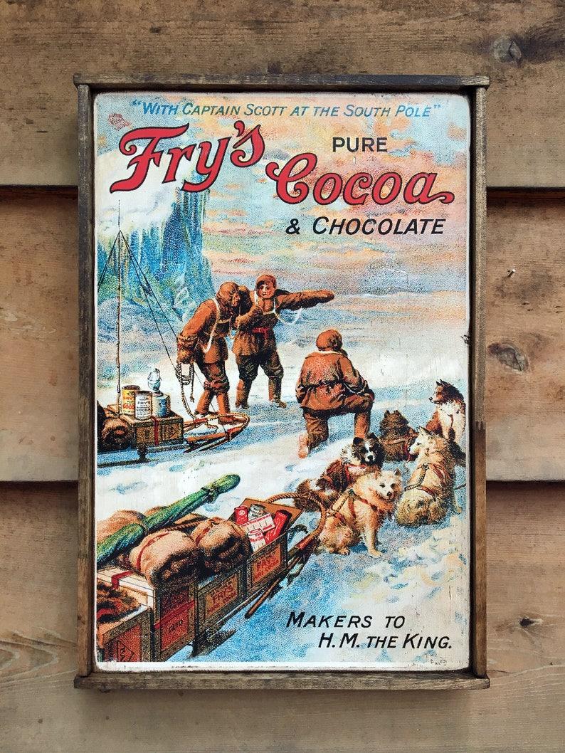 Vintage wooden sign ' Captain Scott's Fry's Cocoa image 0