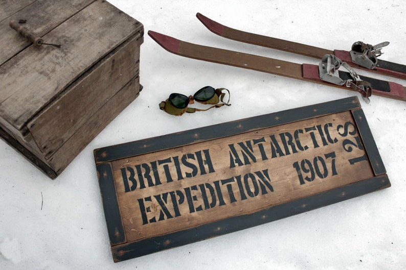 Vintage wooden sign ' British Antarctic Expedition 1907 image 0
