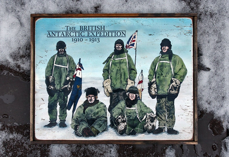 Vintage wooden sign ' The British Antarctic Expedition image 0