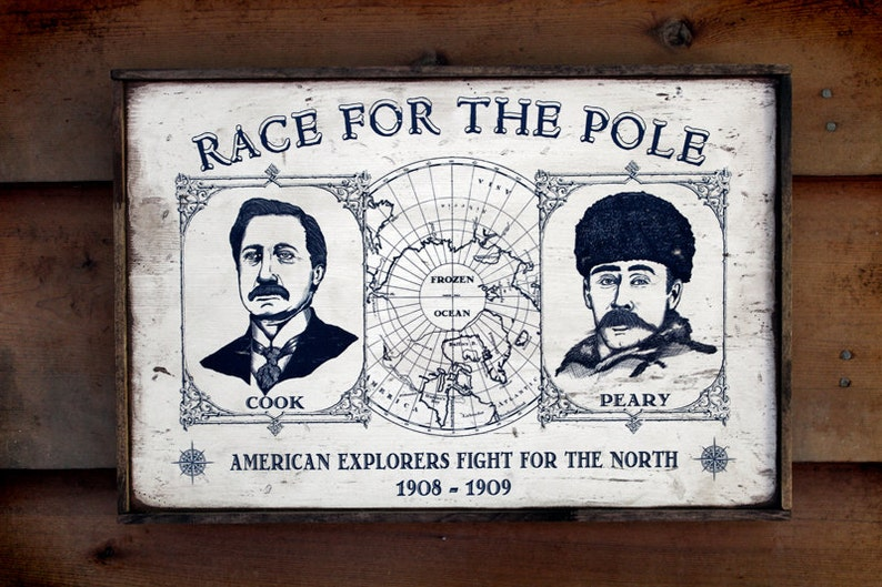 Vintage wooden sign ' Race for the Pole ' with vintage image 0