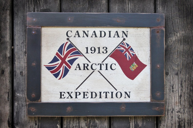 Vintage wooden sign 'Canadian 1913 Arctic Expedition' image 0