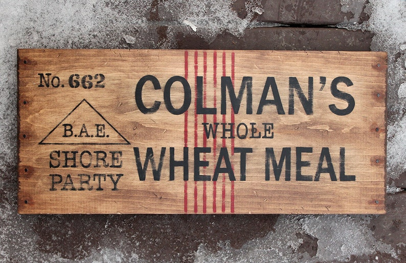 Vintage wooden sign 'Colman's Wheat Meal'. Sir image 0