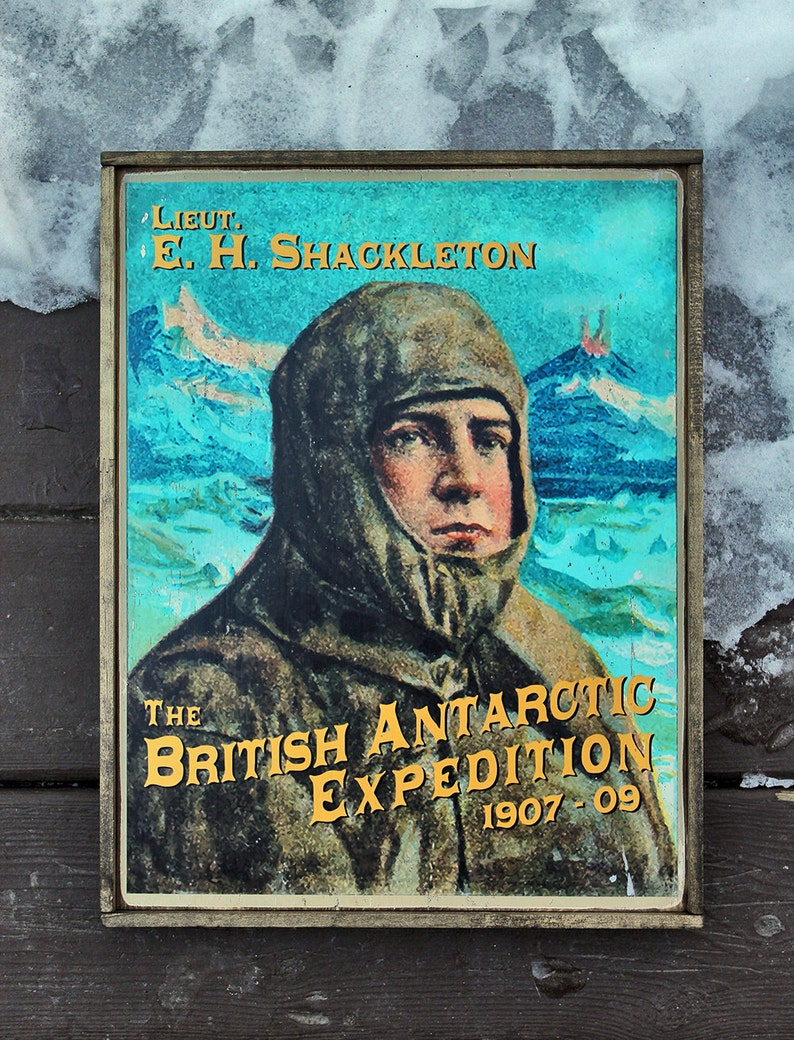 Vintage wooden sign 'Lieut. E.H. Shackleton'. image 0