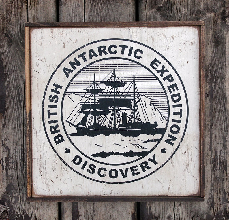 Vintage wooden sign ' Discovery Expedition Emblem ' image 0