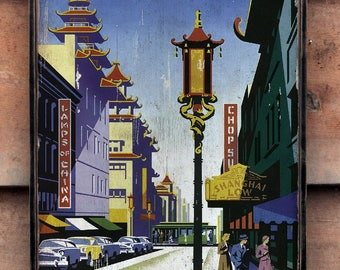 Vintage wooden sign 'Fly United Airlines - San Francisco China Town' Reproduction concept