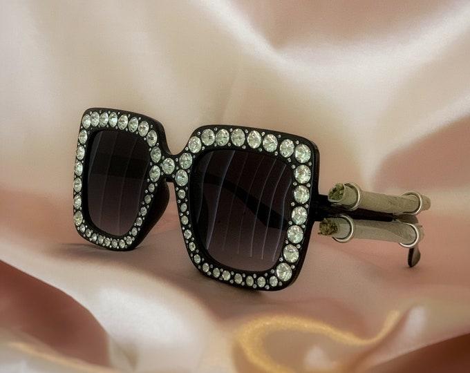 Elton Jaybans: Joint-Holder Rhinestone Sunglasses