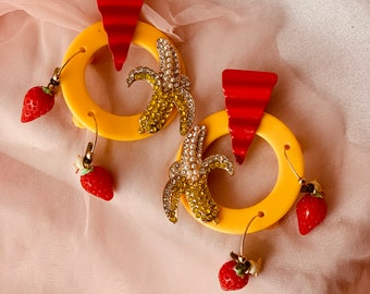 Strawberry Earrings with Rhinestone Banana and 80s Acrylic