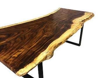 Live Edge Dining Table Monkey Pod Foot Live Edge Table Etsy - 7 foot office table