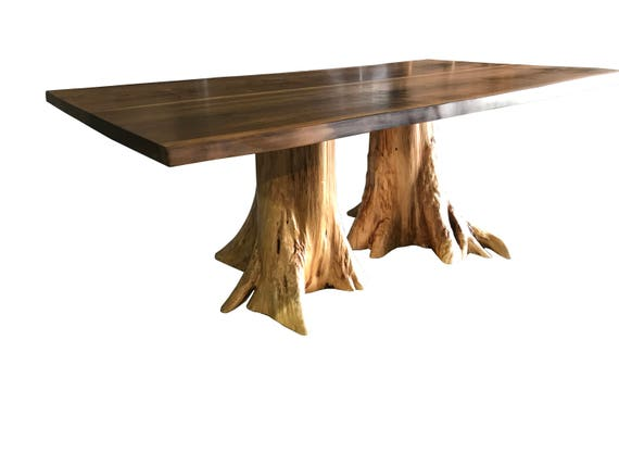 Live Edge Dining Table With Hand Crafted Custom Pedestal Base Etsy - Conference table pedestal base