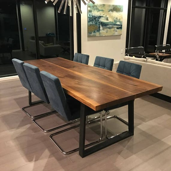 Beautiful Live Edge Dining Table Walnut With Modern Steel Etsy