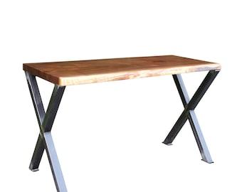 Live Edge Black Walnut Desk with Industrial X style Legs, office table, Custom Desk, Unique Desk in Custom Size ships free