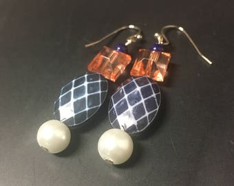 Coral and Navy Earrings