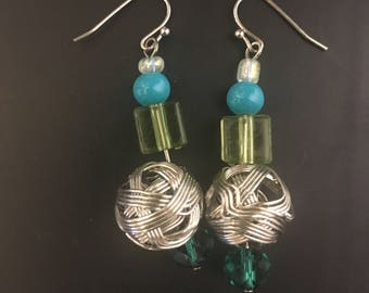Twisted Silver Earrings with Lime Green, Teal, and Turquoise Accents