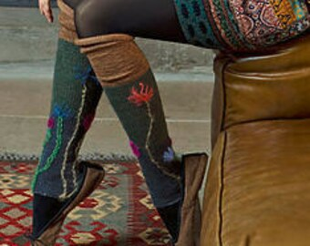 Over-the-Knee Leg Warmers Embroidered Warm Hand Knitted Ladies / Girls / Women Wool Blend