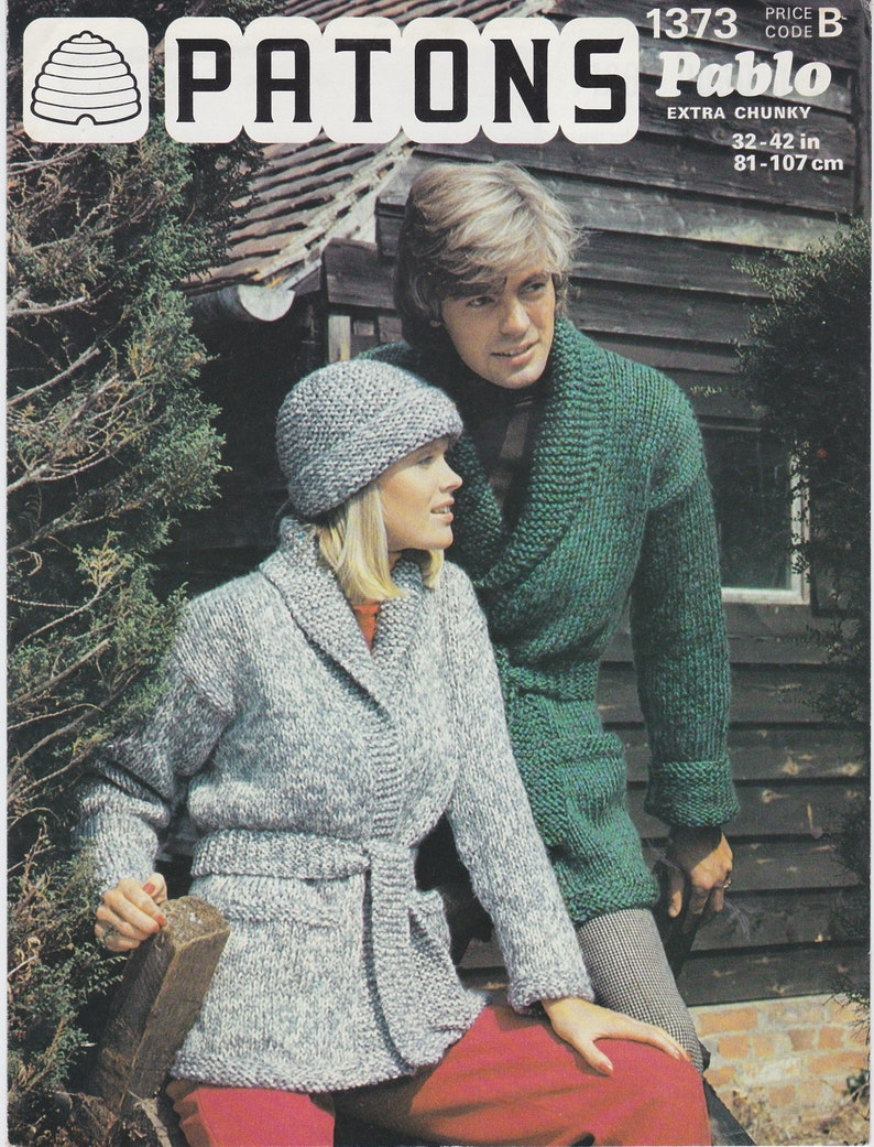 155a394b036 PDF knitting pattern Super Chunky ladies mens sash tied jacket