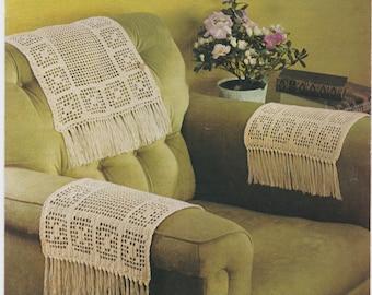 Nice Vintage PDF Crochet Pattern Chairback U0026 Arm Covers Anti Macassa Fringed