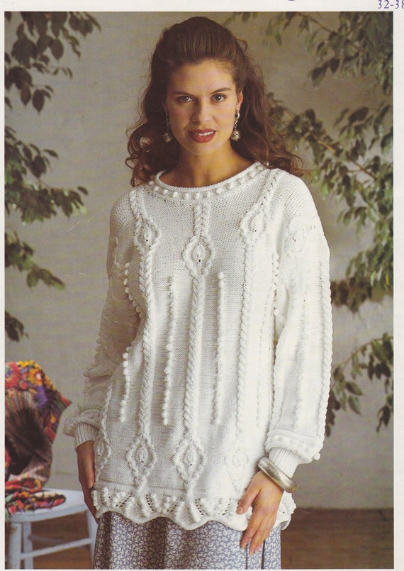 """Patons DK Knitting Pattern Ladies  Lacy Sweater Jumper Size 32//38/"""""""