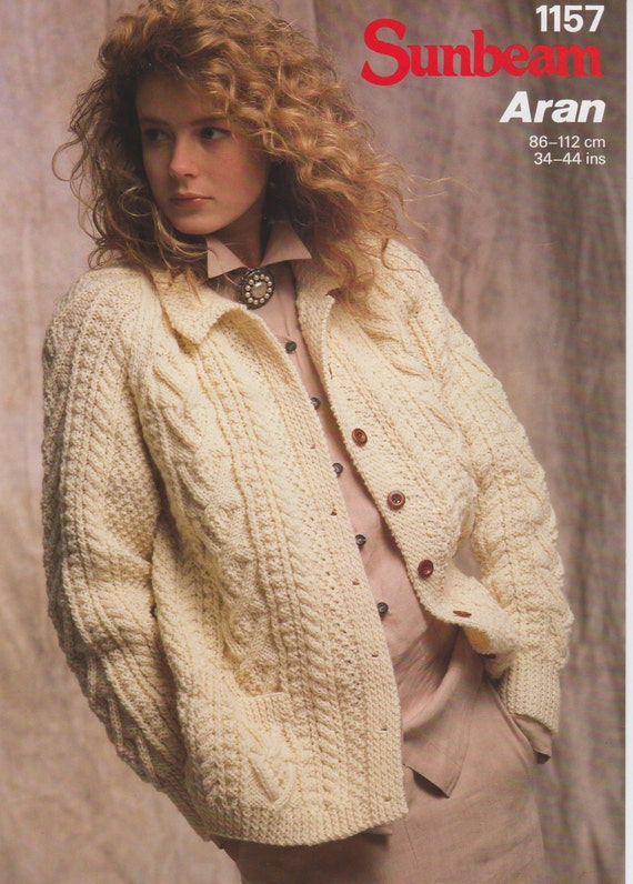 PDF Ladies Aran Cardigan Jacket vintage knitting pattern ...