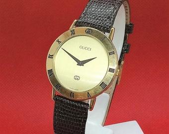 580dd32fecd Authentic Gucci Mens Gold Watch – Vintage Gucci Watch Mens Quartz Watch –  Gucci for Men Minimalist Watch – Mens Vintage Watch Simple Watch