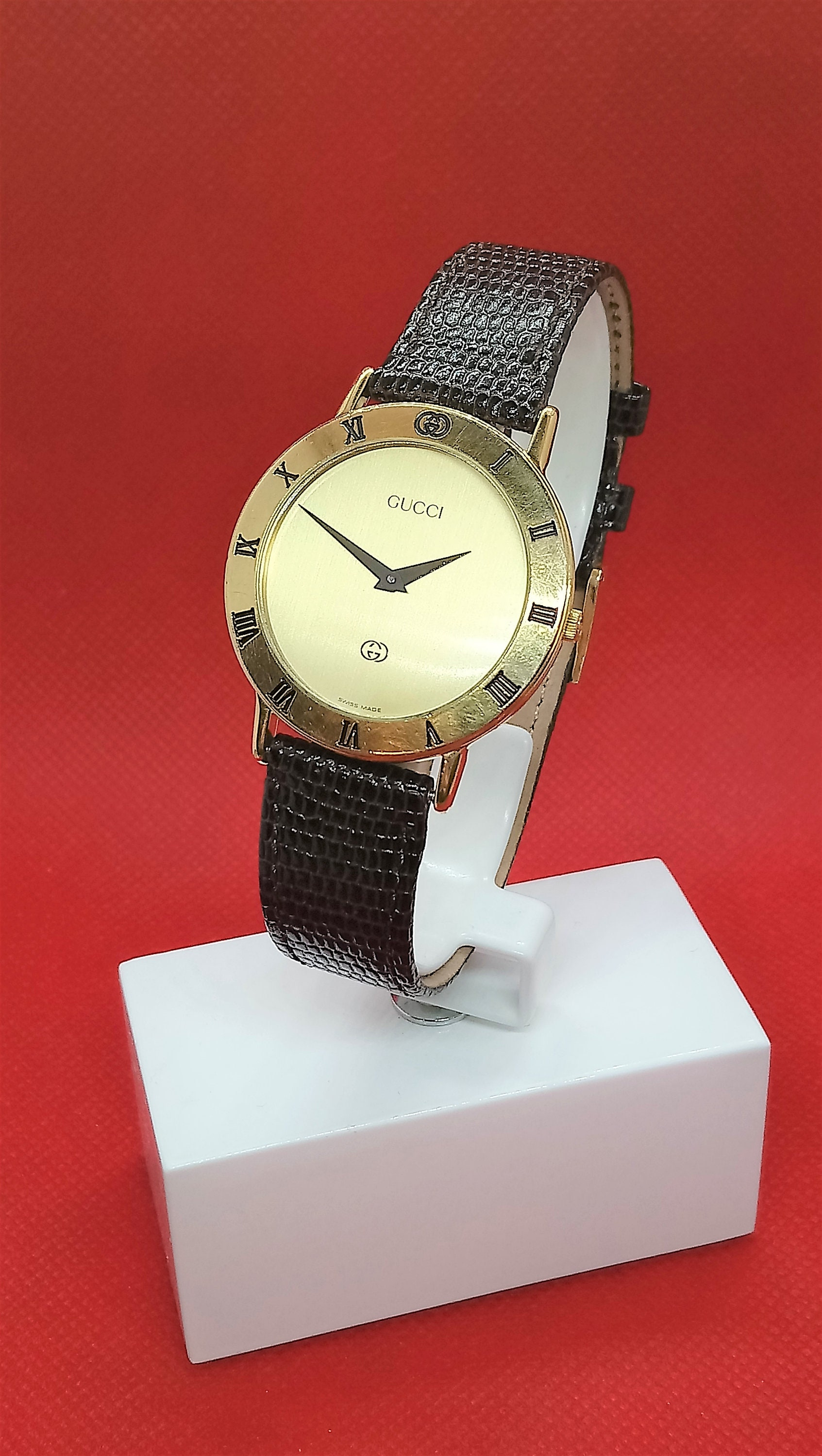 03a12497ace Authentic Gucci Mens Gold Watch Vintage Gucci Watch Mens