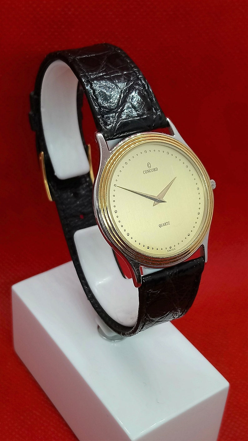 07ccd573f10 Ultra Thin Concord Watch Quartz Watch Vintage Gold Watch