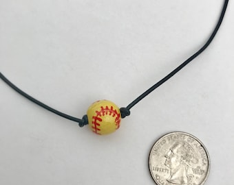 Softball Choker - Leather Choker - Sports Necklaces - Sports Chokers - Softball Nexklace - Softball Jewelry - Sports Jewelry