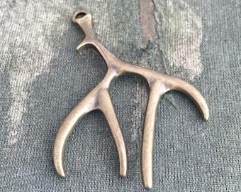 Bronze antler charm, bronze antler pendant, 6 deer antler charm, DIY antler necklace, nature inspired jewelry, vintage style bronze findings