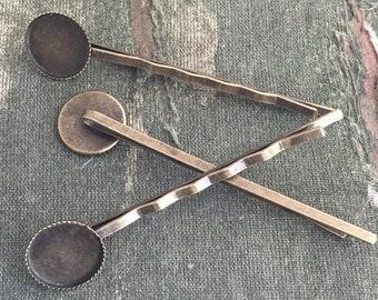 12 bronze bobbi pins, bronze hair clips, bronze bezel, 12mm cabochon hair pin, bronze hairpin blanks, DIY hair pin, vintage style