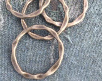 6 bronze rings, wavy bronze connector rings, bronze tone circle, 23mm bronze hoop, antique bronze connector ring, textured