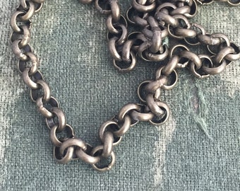 5ft. Antique brass rolo chain, round rolo chain, vintage style, open linked chain, non soldered, DIY chain, DIY necklaces