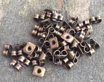 Bronze tone earring backs, 50 butterfly earring backs, earring stoppers, earring nuts, backs for post earrings, DIY earrings, vintage style