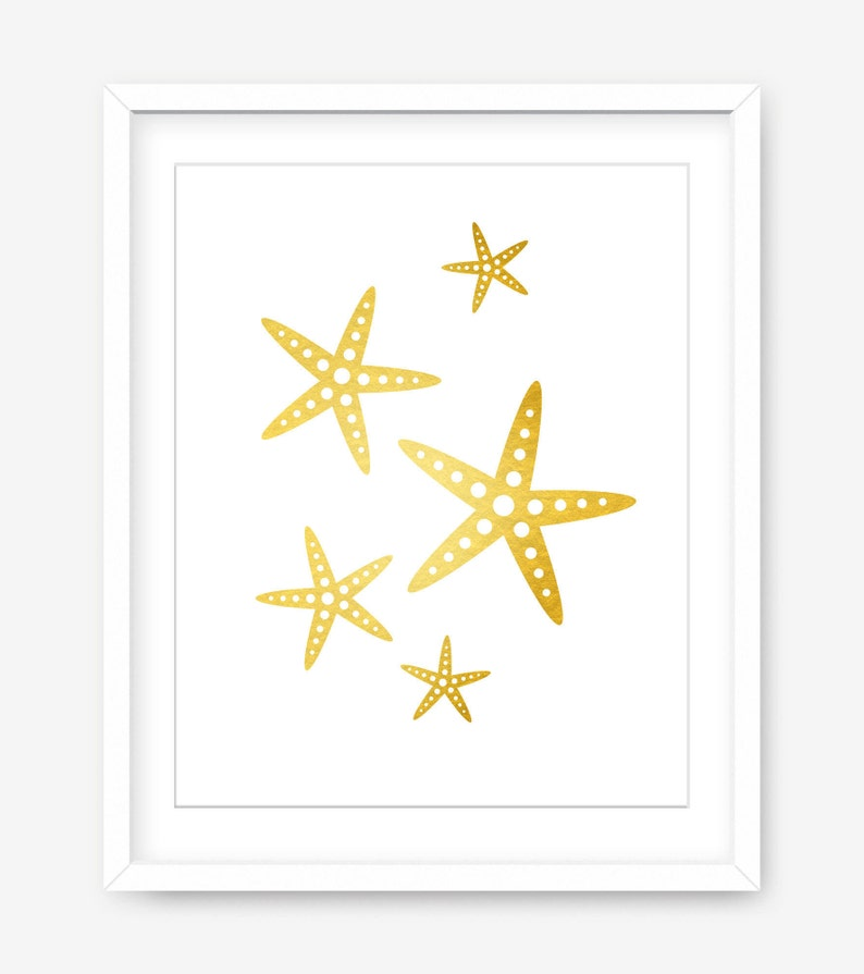 photo relating to Starfish Printable called Starfish printable artwork - gold printable coastal artwork - seaside wall print - nursery printable poster - gold and white artwork - POSTER Obtain
