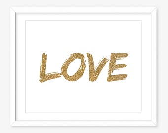 Printable art - gold glitter print - gold printable - modern printable poster - nursery printable - gold decor - INSTANT DOWNLOAD