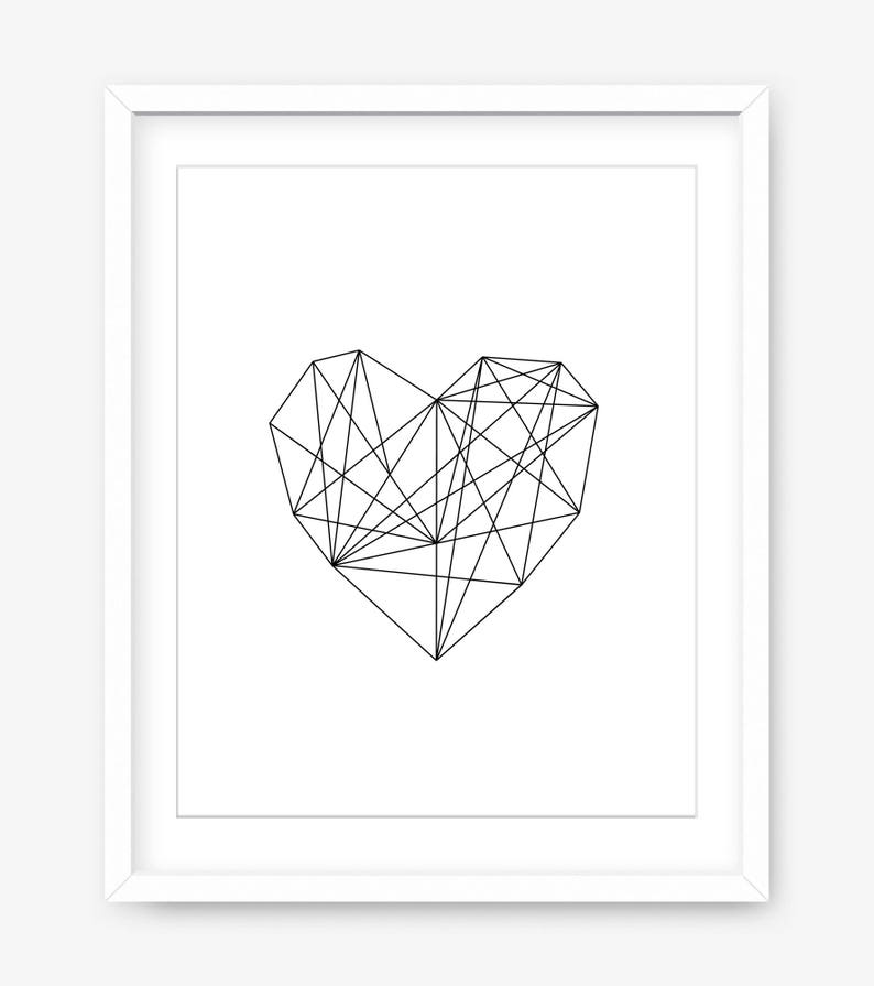 Druk Serca Plakat Z Nadrukiem Sztuka Nowoczesna Geometria Geometryczna Do Druku Walentynki Do Druku Czarno Biały Nadruk Instant Download