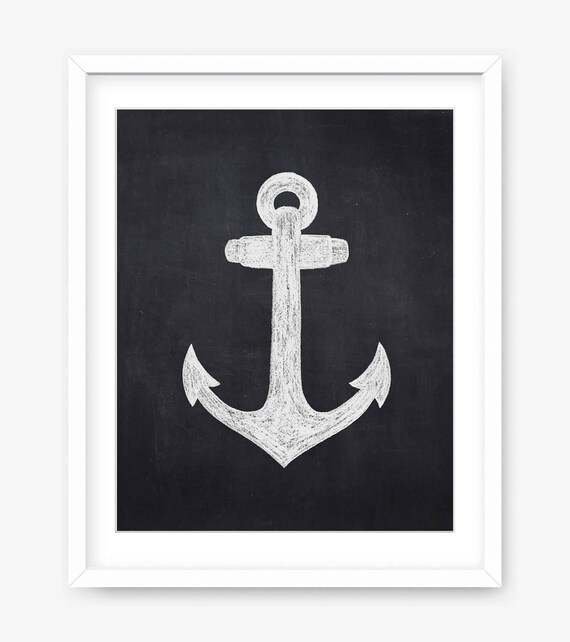 photograph relating to Anchor Printable known as Anchor printable - chalkboard printable artwork - hand drawn anchor chalkboard - black and white printable poster - Quick Down load