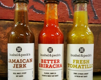 Hot Sauce Trio - 3.0 - NEW - Small Batch Handmade Hot Sauce Gift Box Sriracha, Jerk and Tomatillo Sauce